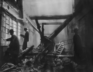 London readers continue to browse through a library, even though it is destroyed by German bombs. WW II