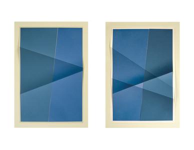 Untitled #341_01, 3 colors, #3073B2, #4D728B, #EDE6C1; Untitled #341_02, 3 colors, #4D728B, #3073B2, #E0D9B7