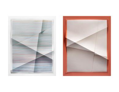 Untitled #355, 194,480 combinations of a 2x2 grid, 21 colors ; Untitled #356, 2 colors, #C1B1A8,  #B2604C