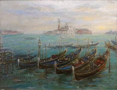 Gondolas by San Marco, View to San Giorgio