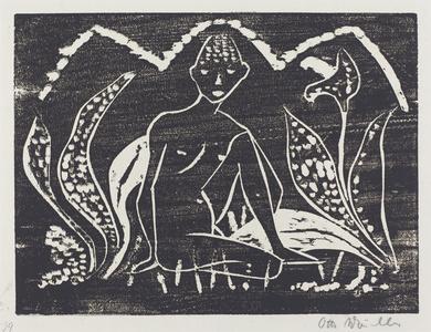 Nude Figure of a Boy in a Landscape (Knabe zwischen Blattpflanzen)