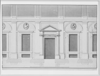 [Elevation and plan for portico]