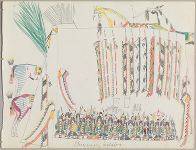 "Ledger Drawing ""Cheyenne Soldiers"""