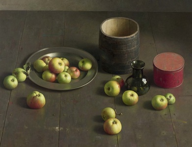 Floor composition with apples