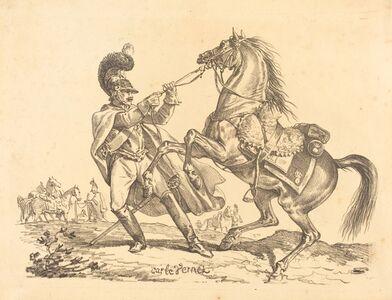 Cuirassier retenant son cheval qui se cabre