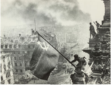 Raising the Hammer and Sickle over the Reichstag