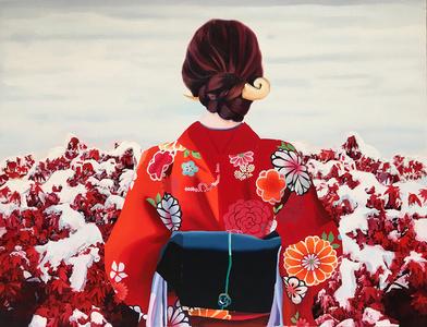 Japonesa con kimono rojo