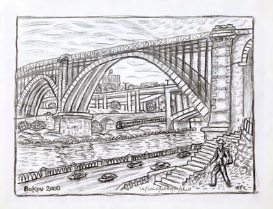 New York City Bridge Scene