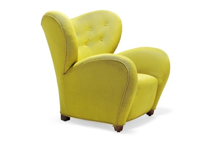 """The Tired Man"". Easy chair upholstered with original yellow wool, back fitted with buttons. Made by A.J. Iversen."