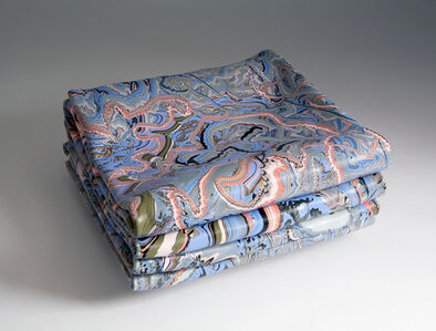 Folded Painting with Blue and Orange