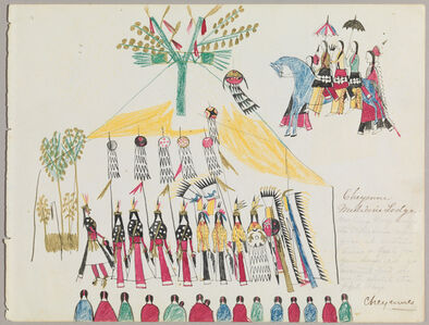 "Ledger Drawing ""Cheyenne Medicine Lodge"""