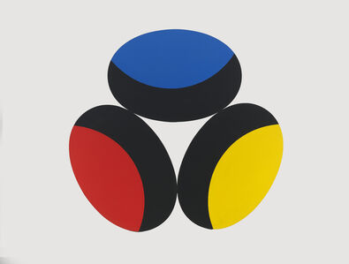 Blue, Red, Yellow with Black Crescents