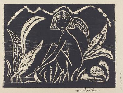 Nude Figure of a Girl in a Landscape (Madchenzwischen Blattpflanzen)