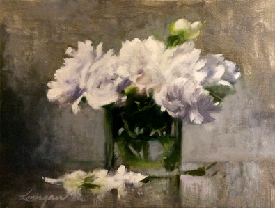 Peonies in a Square Vase