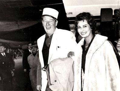 John Wayne and Sophia Loren at Ciampino Airport