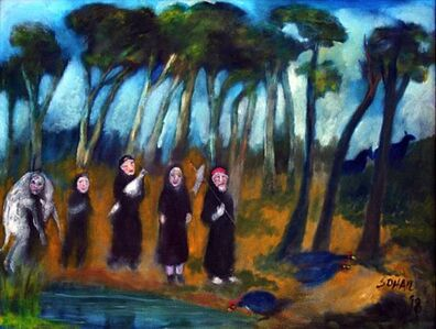 People in black robes carrying sacrificial animals