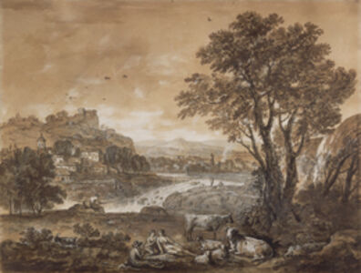 A Landscape with Shepherds Resting Under a Tree by a Cascade (recto), Sketch of a Landscape (verso)