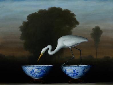 Egret and Blue Bowls