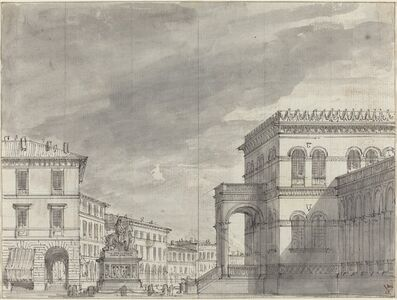 Piazza with an Equestrian Monument and a Palace