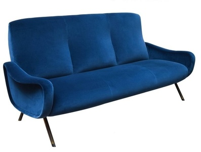 "1950's ""Lady"" series sofa in blue velvet upholstery. Metal structure."