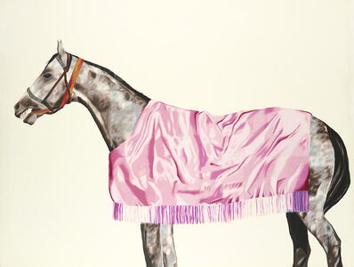 Horse series No. 8, Grey with Pink Rug