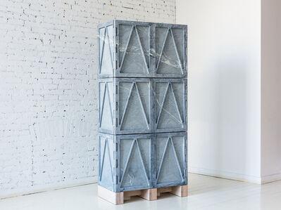 Relief Stone Cabinet - Six Door