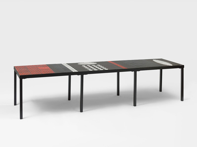Coffee table with eight feet