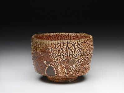 Tea bowl, shino glaze over iron slip