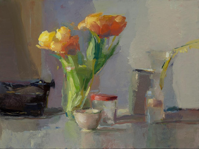 Tulips, Typewriter and Jars