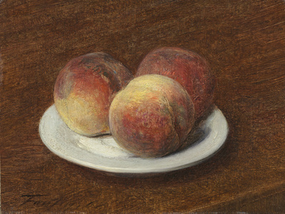 Three Peaches on a Plate