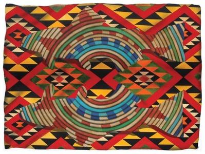 Salmon basket series on navajo textile pattern background