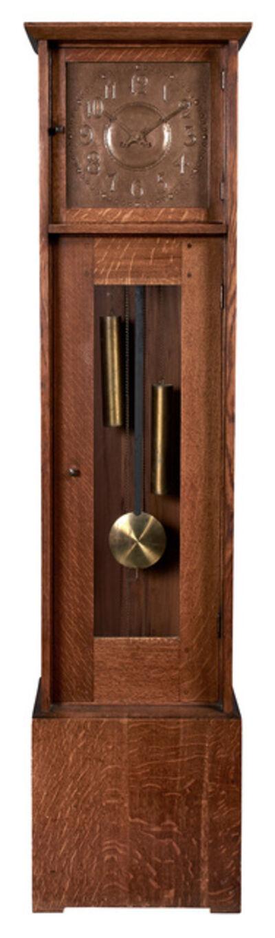 L. & J.G. Stickley, 'Oak and Copper Tall Case Clock Number 91'