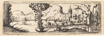 Augustin Hirschvogel, 'Landscape with Lake and Town', 1545