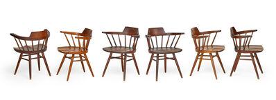 George Nakashima, 'Assembled set of six Captain's chairs, New Hope, PA', 1954-78
