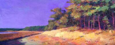 "Larry Horowitz, '""Marsh Walk"" Painterly Landscape in Yellows, Greens, Orange with Purple Sky ', 2010-2018"