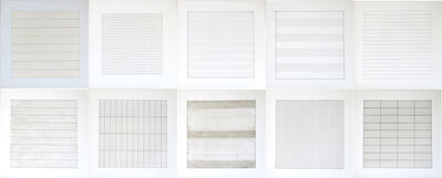 Agnes Martin, 'Suite of 10 loose lithographs on vellum, Agnes Martin Paintings and Drawings 1974-1990, Stedelijk Museum', 1991