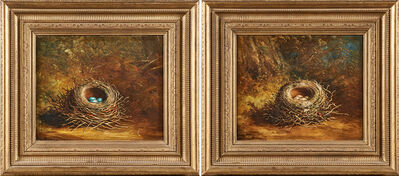 Ben Hold, 'Two untitled oils on canvas with birds' nests'