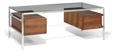 Preben Fabricius, 'Freestanding desk with matte steel frame. Top of glass. Each side mounted with Brazilian rosewood drawer section'
