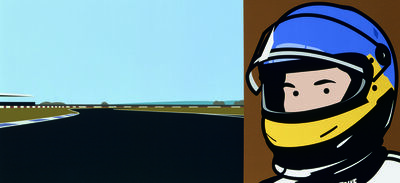 Julian Opie, 'Imagine you are driving (fast)/Jacques/helmet', 2002