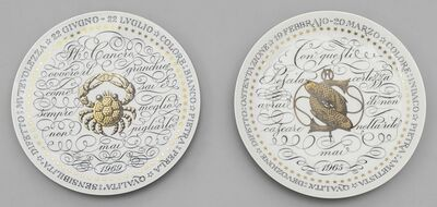 Piero Fornasetti, 'Two plates from 'Zodiaci' series', 1965