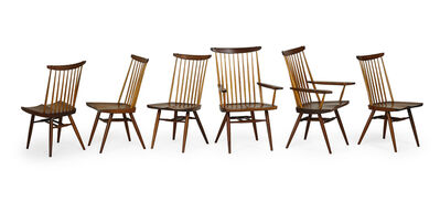 George Nakashima, 'Set of six New chairs, two arm- and four side-', 1970