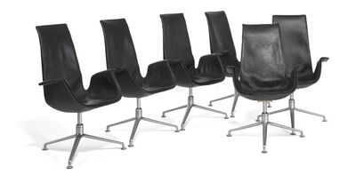 """Preben Fabricius, '""""Tulip"""". A set of six swivel armchairs with steel base. Sides, seat and back upholstered with black leather'"""