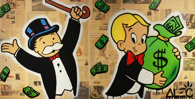 Alec Monopoly, 'Monops cheers Richie with Money Bag ', 2018