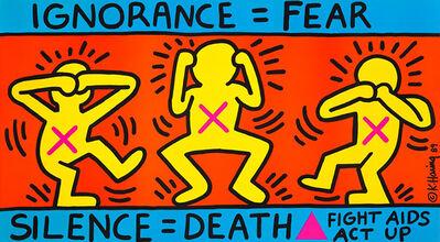 Keith Haring, 'Keith Haring Ignorance = Fear 1989 (Keith Haring ACT UP)', 1989