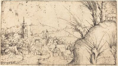 Augustin Hirschvogel, 'Landscape with a Town at Left', 1549