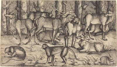 Augustin Hirschvogel, 'Stags in the Forest', 1545