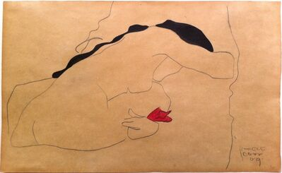 Egon Schiele, 'Back View of a Seated Female Nude with Black Hair, Bending (Danae)', 1909
