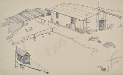 Egon Schiele, 'Work Shed in Hilly Terrain', 1915