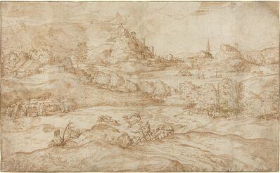 Domenico Campagnola, 'Landscape with Shepherds Driving Away a Wolf', ca. 1540