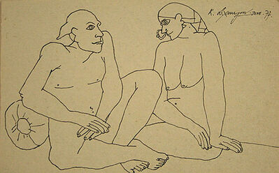 Laxma Goud, 'Untitled (Seated Couple - Line Drawing)', 1973